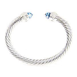 David Yurman Cable Classics Sterling Silver Topaz Diamond Bracelet