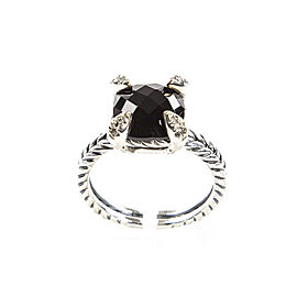 David Yurman Chatelaine Sterling Silver Black Onyx Diamond Ring Size 8