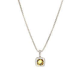 David Yurman Petite Albion Sterling Silver Citrine Diamond Necklace