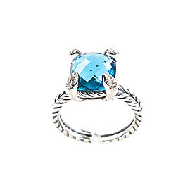 David Yurman Chatelaine Sterling Silver Hampton Blue Topaz & Diamond Ring Size 6