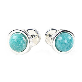 Tiffany & Co. Sterling Silver Amazonite Groove Cufflinks