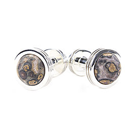 Tiffany & Co. Sterling Silver Agate Groove Cufflinks