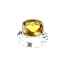 David Yurman 18K Yellow Gold, Sterling Silver Citrine Ring Size 7