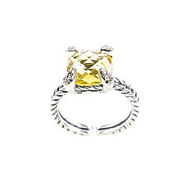 David Yurman Chatelaine Sterling Silver Citrine, Diamond Ring Size 6