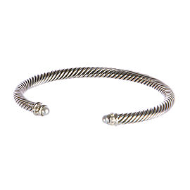 David Yurman Cable Classics Sterling Silver Cultured Freshwater Pearl Diamond Bracelet
