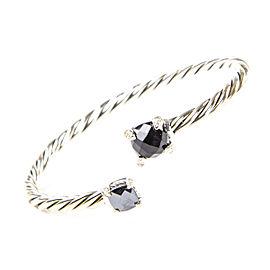 David Yurman Chatelaine Sterling Silver Hematine Onyx Diamond Bracelet