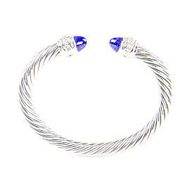 David Yurman Cable Classics Sterling Silver Lapis Lazuli Diamond Bracelet