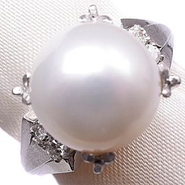 Platinum/Pearl diamond Ring NST-381