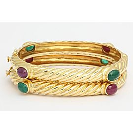 18K Yellow Gold with 6ct Emerald and 6ct Ruby Textured Twisted Bangle Bracelets