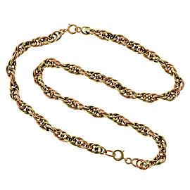 14K Rose & Green Gold Wire Links Vintage Art Deco Convertible Bracelet / Necklace