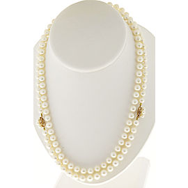 14k Yellow Gold Vintage Cultured Pearl Necklace and Bracelet Set