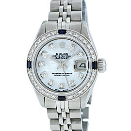 Rolex Datejust 6917 Stainless Steel & 18K White Gold Mother of Pearl Diamond and Sapphire 26mm Womens Watch