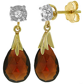 6.06 CTW 14K Solid Gold Stud Earrings Diamond Garnet
