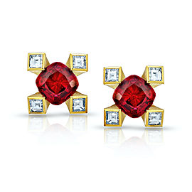 18K Yellow Gold 1.12ct. Ruby 0.21ctw. Diamond Earrings
