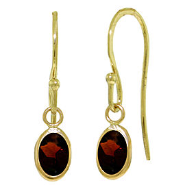 1 CTW 14K Solid Gold Fish Hook Earrings Garnet