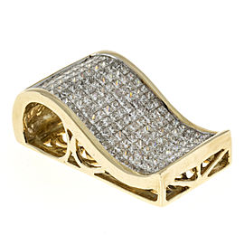 14K Yellow Gold with 6.00ct Diamond Ski Jump Vintage Slide Pendant