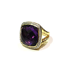 David Yurman Albion 18K Yellow Gold With Amethyst & Diamonds Ring Size 7.5