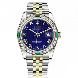 Women's Rolex 31 mm Datejust Vintage Diamond Bezel with Emeralds Two Tone BLUE ROMAN RT Baguette Color Diamond Dial