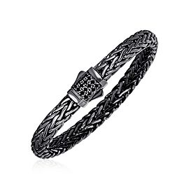 Woven Rope Bracelet with Black Sapphire and Black Finish in Sterling Silver