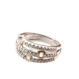 Damiani Puzzle Ring 3 Rows 18k White Gold with 18k Rose Gold and Diamonds