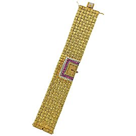 Ruby Diamond Gold Watch Bracelet