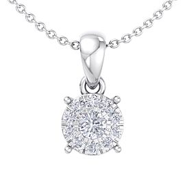 Classic halo pendant in 18K gold with white diamonds of 0.17 ct in weight
