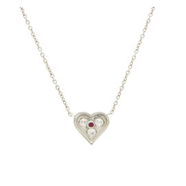 Roberto Coin 18K White Gold, Sterling Silver Diamond, Ruby Necklace Size 16mm