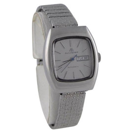 Bucherer Stainless Steel Vintage Stretch Automatic Day Date Womens Watch