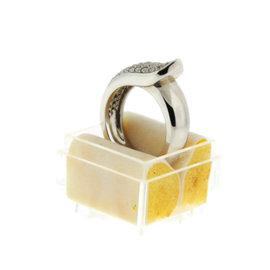 Cartier 18K White Gold Ruban Band Diamond Ring Size 6