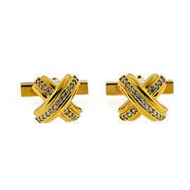 Tiffany & Co. 18K Yellow Gold Diamond X Tuxedo Set Cufflinks