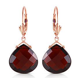 14K Solid Rose Gold Leverback Earrings Checkerboard Cut Garnets