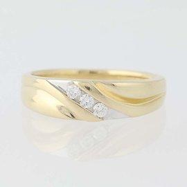 10K White Gold, 10K Yellow Gold Diamond Wedding Ring Size 10