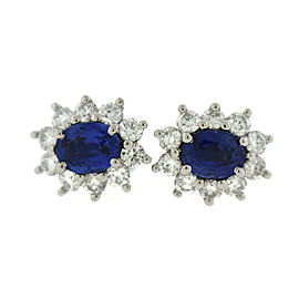 Tiffany & Co. Platinum 1.00ct. Blue Sapphire & 0.72ct. Diamond Earrings
