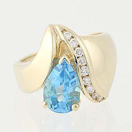 14K Yellow Gold Topaz, Diamond Ring Size 3