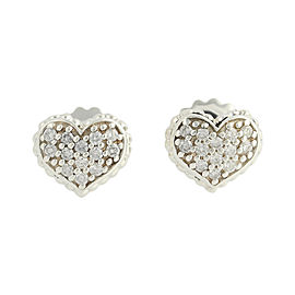 Lagos Caviar Sterling Silver & 14K Yellow Gold 0.42ct Diamond Heart Earrings
