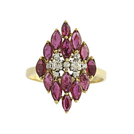 LeVian 18K Yellow & White Gold 3.75ct Rubies & Diamond Cocktail Ring Size 11.5