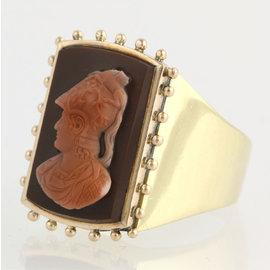 14K Yellow Gold Onyx, Chalcedony, Diamond Ring Size 9