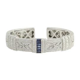 Judith Ripka 18K White Gold 4.84ctw Diamond & Sapphire Cuff Bracelet