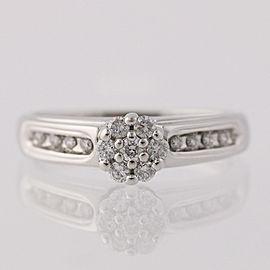 14K White Gold Diamond Engagement Ring Size 7.25