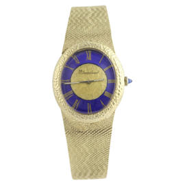 Lucien Piccard 14K Gold Blue Dial 29.5mm Womens Wristwatch