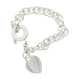 Tiffany & Co. 925 Sterling Silver Heart Charm Cable Chain Bracelet