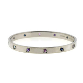 Cartier Love 18K White Gold 10 Gemstone Bracelet Size 18