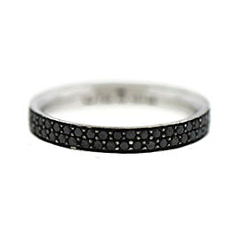Georg Jensen 18K White Gold Magic Pave Black Diamond Ring Size 4.5