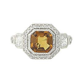 Judith Ripka 925 Sterling Silver Orange Halo Ring Size 7.25