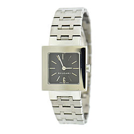 Bulgari Quadrato SQ22SS Stainless Steel Black Dial Quartz 22mm Womens Watch