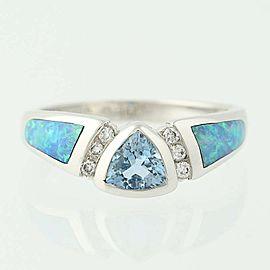 Kabana 14K White Gold Aquamarine, Opal, Diamond Ring Size 5