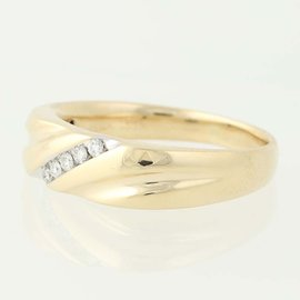 14K Yellow Gold Diamond Wedding Ring Size 12
