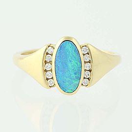 Kabana 18K Yellow Gold Opal, Diamond Ring Size 6