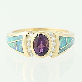 Kabana 14K Yellow Gold Amethyst, Opal, Diamond Ring Size 7