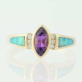 Kabana 14K Yellow Gold Amethyst, Opal, Diamond Ring Size 6